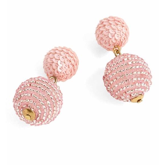 Bead Round Dangle Earrings Sequin Earrings Neon Earrings Statement Jewelry Pom Pom Earrings